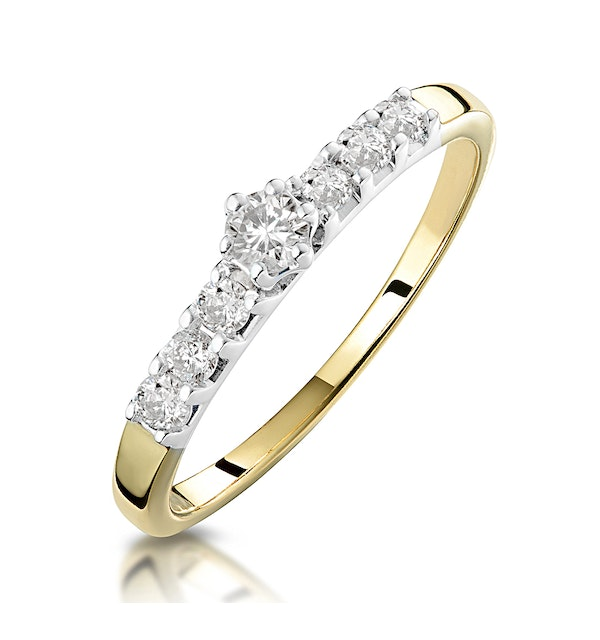 Diamond Solitaire Ring with Shoulders in 9K Gold - Sizes M to O - image 1