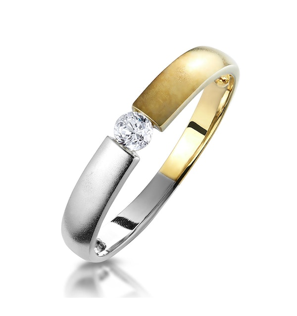 Solitaire Diamond Ring in Two Tone 9K Gold - image 1