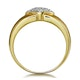 Pave Diamond Ring with Bezel Shoulders in 9K Gold - image 2