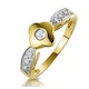 0.10ct Diamond Flower Ring with Shoulders in 9K Gold - image 1