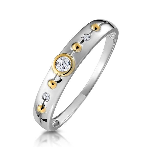 Three Stone Rubover Diamond Set Band in 9K White Gold - image 1