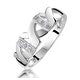 Pave Diamond Ring Featuring Kisses in 9K White Gold - image 1