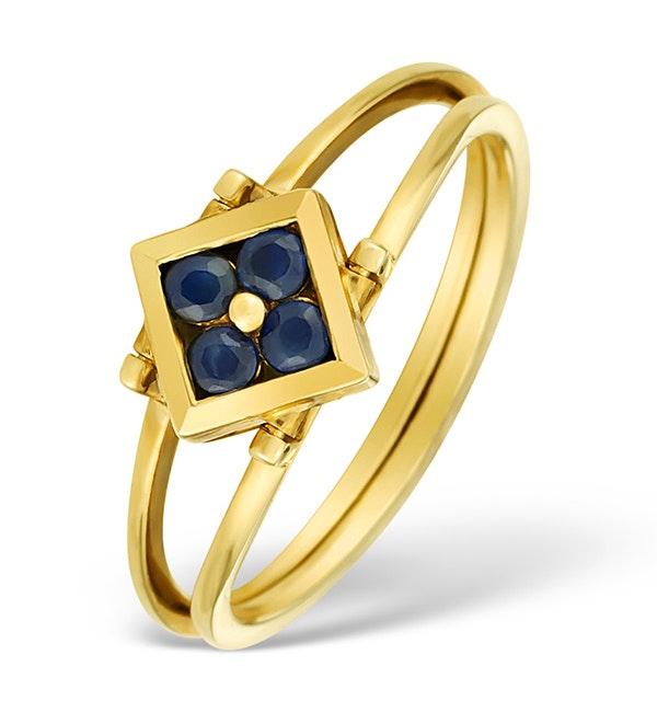 9K Gold Diamond and Sapphire Design Reversible Ring - E4851 - image 1