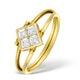 9K Gold Diamond and Sapphire Design Reversible Ring - E4851 - image 2