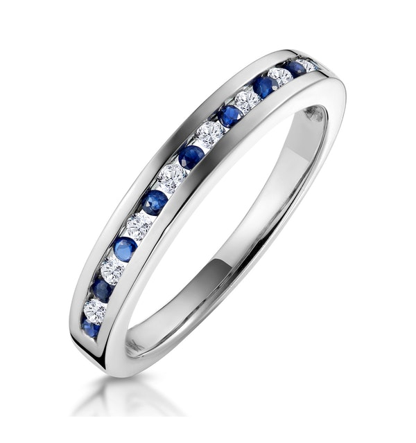 Sapphire 0.12ct And Diamond 9K White Gold Ring - image 1