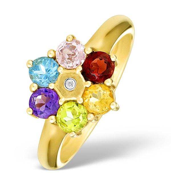9K Gold Diamond and Multi Stone Ring - E4079 - image 1