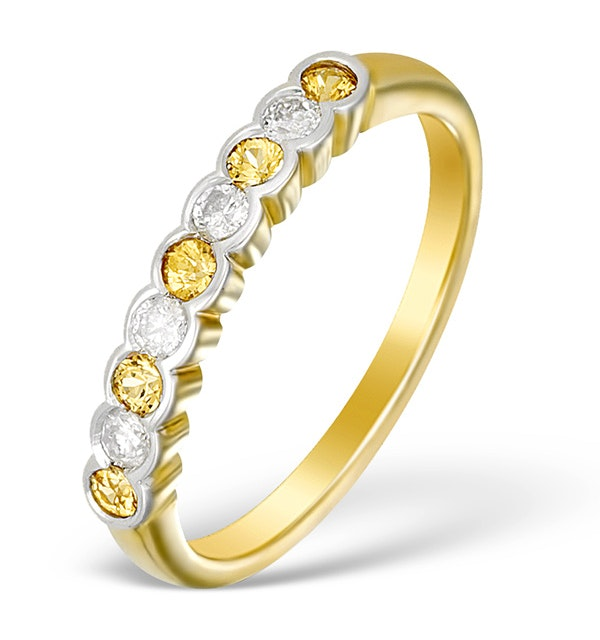 9K Gold Diamond and Yellow Sapphire Half Band Ring - E5426 - image 1