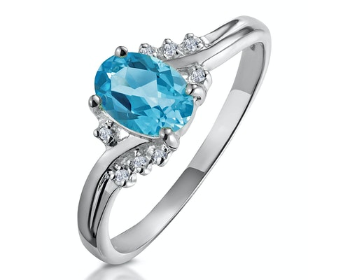 Oval Cut Blue Topaz Rings