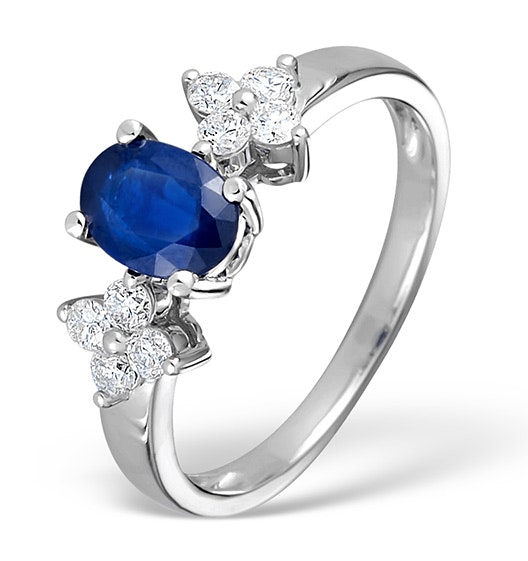 Sapphire 5 x 7mm And Diamond 9K White Gold Ring