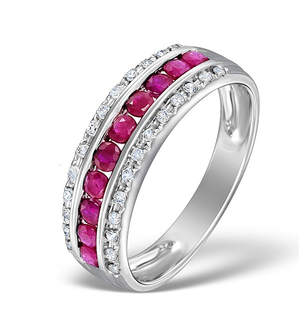 Ruby and Diamond 9K White Gold Ring - Sizes S.5 - image 1
