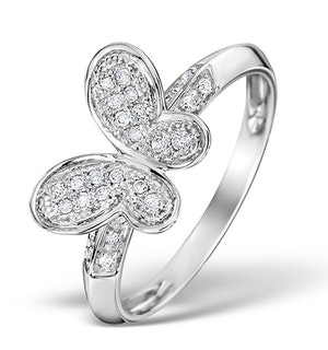 DIAMOND 0.15CT 9K WHITE GOLD BUTTERFLY RING