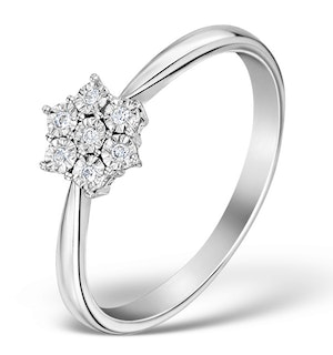 DIAMOND 0.04CT 9K WHITE GOLD CLUSTER RING - E5885