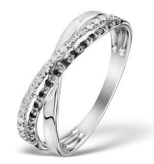 DIAMOND AND BLACK DIAMOND CROSSOVER 0.09CT 9K WHITE GOLD RING