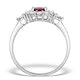 Ruby 7 x 5mm and Diamond 9K White Gold Ring - image 2
