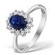 Sapphire 7 x 5mm and Diamond 9K White Gold Ring  E5891 - image 1