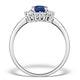 Sapphire 7 x 5mm and Diamond 9K White Gold Ring  E5891 - image 2
