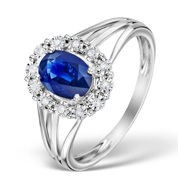 Sapphire 7 x 5mm and Diamond 9K White Gold Ring Item E5805