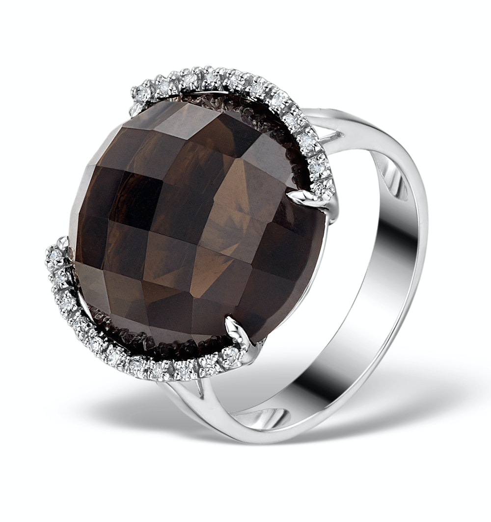 15ct Smokey Quartz and 0.11ct Diamond Ring in 9K White Gold