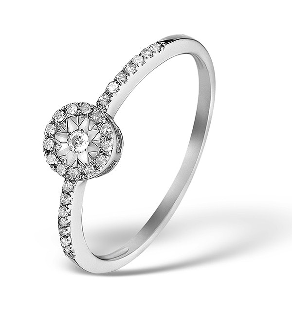 Halo Ring with 0.11ct of Diamonds set in 9K White Gold - image 1