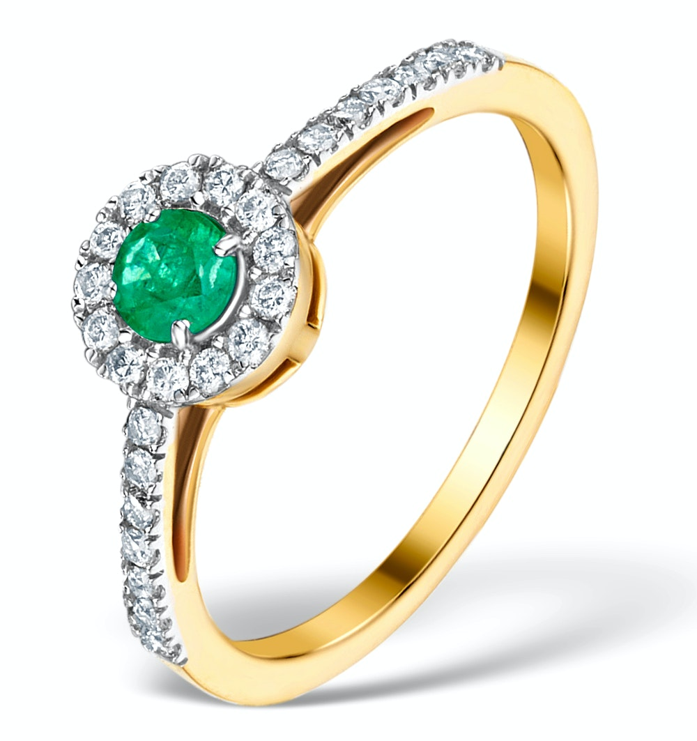 Emerald Halo Martini 0.25CT Diamond Ring in 9K Gold E5966