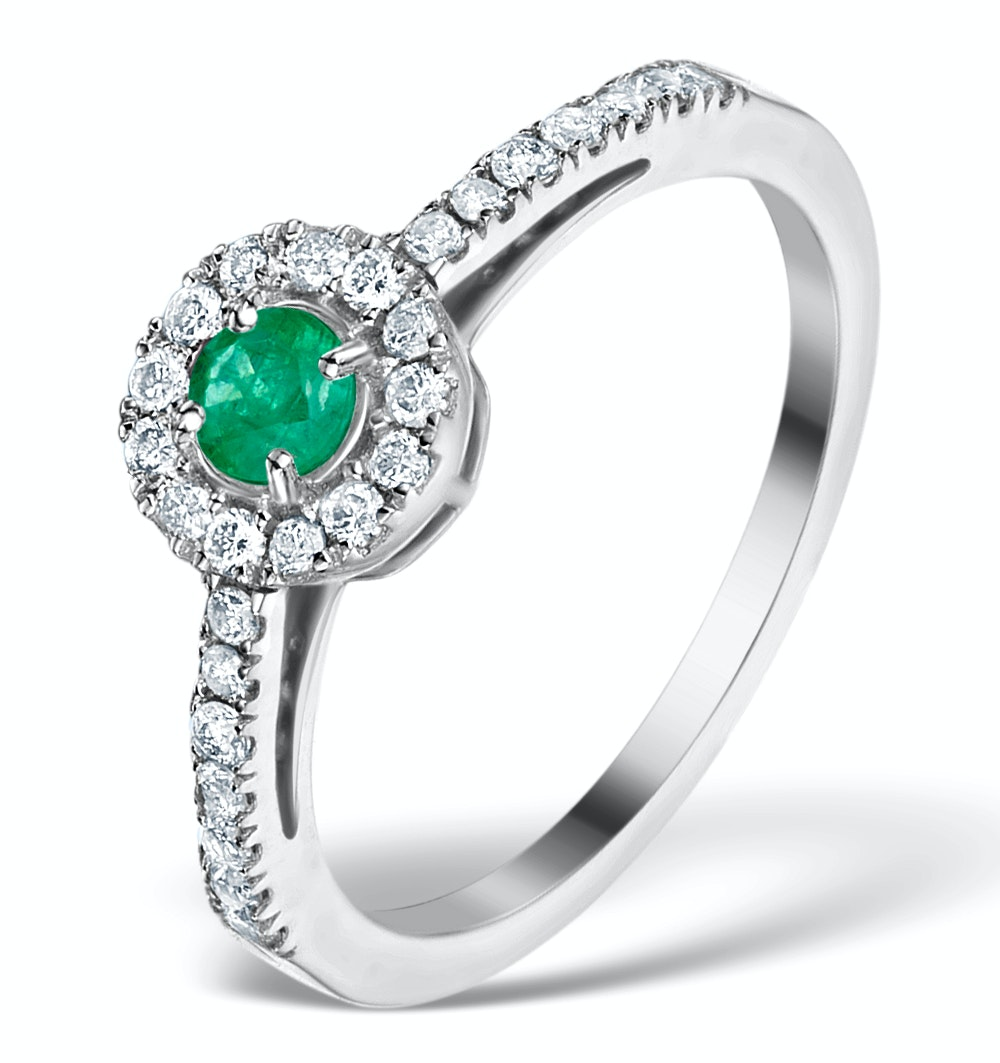 Emerald Halo Martini 0.25CT Diamond Ring in 9K White Gold E5967