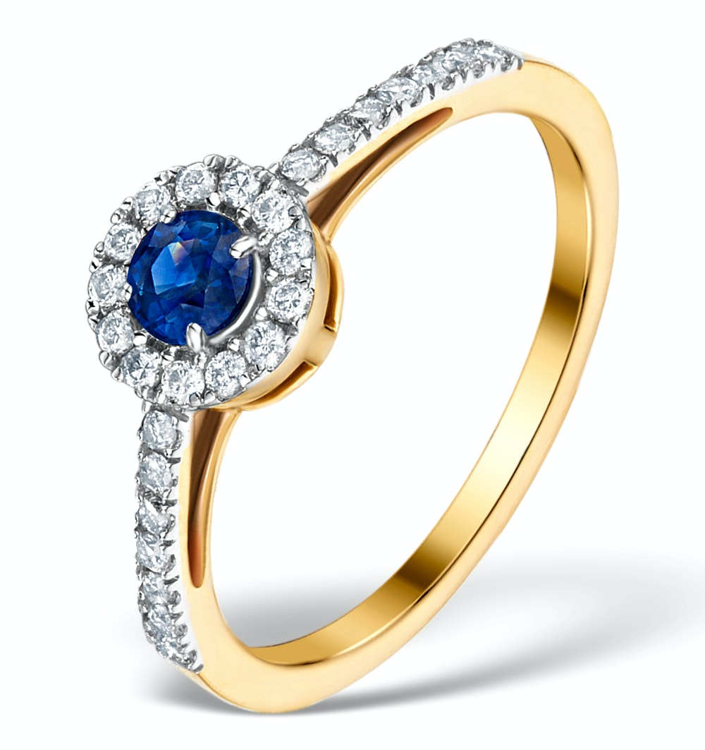 Sapphire Halo Martini  0.25CT Diamond Ring in 9K Gold E5968