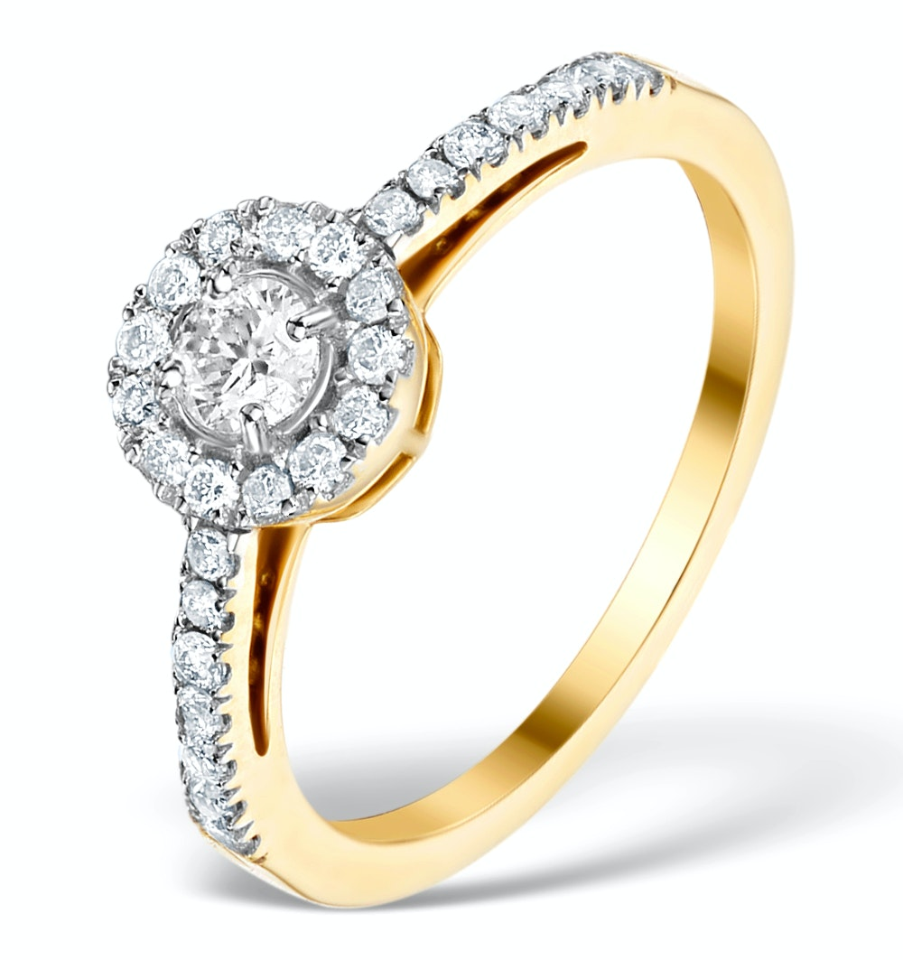 Halo Engagement Ring Martini Diamond 0.45CT Ring in 9K Gold E5972