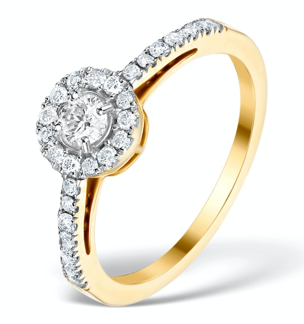 Halo Engagement Ring Martini Diamond 0.45CT Ring in 9K Gold E5972 - image 1