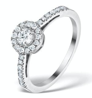 HALO ENGAGEMENT RING MARTINI DIAMOND 0.45CT RING 9K WHITE GOLD E5973