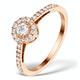 Halo Engagement Ring Martini Diamond 0.45CT Ring in 9K Rose Gold E5974 - image 1