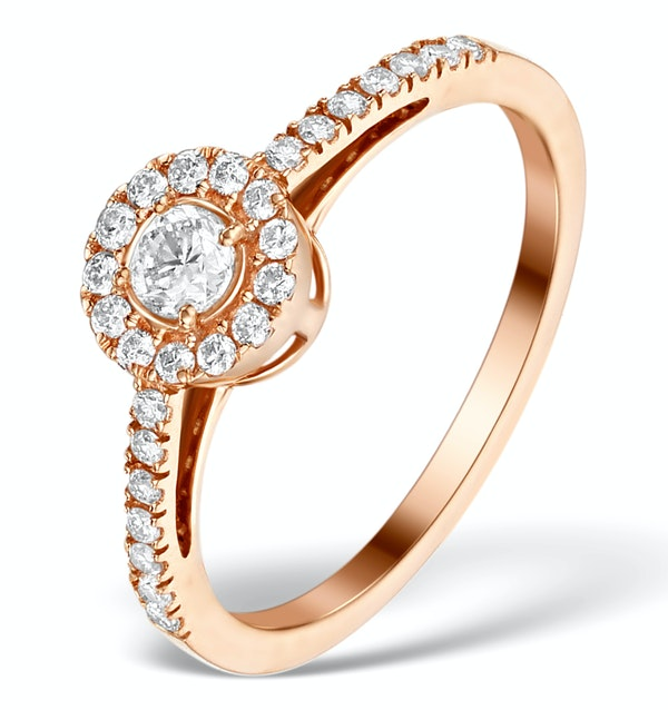 Halo Engagement Ring Martini Diamond 0.45CT Ring in 9K Rose Gold E5974 - image 1
