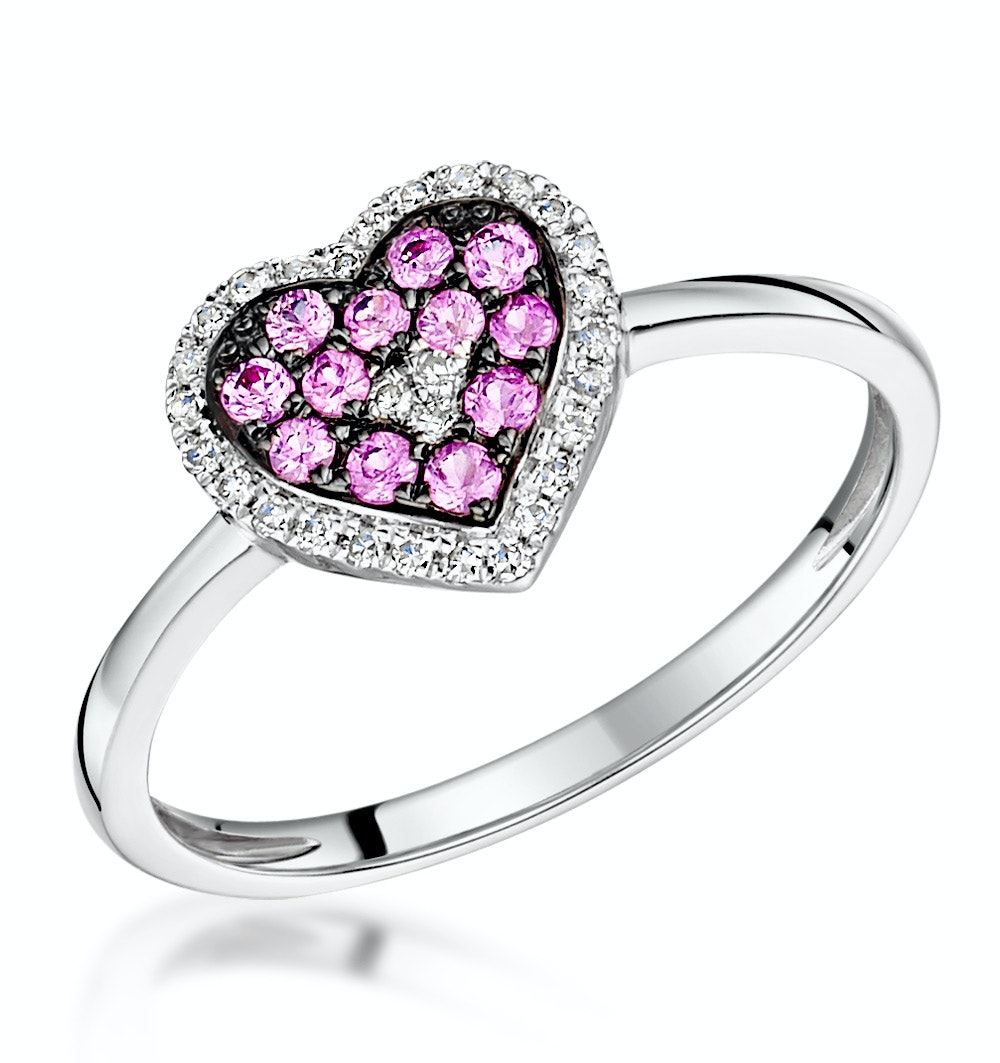 Pink Sapphire and Diamond Stellato Heart Ring 0.09ct in 9K White Gold