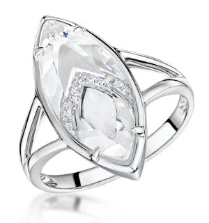 STELLATO COLLECTION WHITE TOPAZ AND DIAMOND RING IN 9K WHITE GOLD