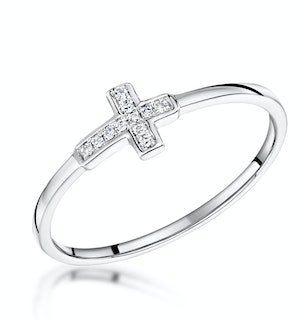 STELLATO COLLECTION DIAMOND CROSS RING 0.03CT IN 9K WHITE GOLD