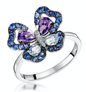 AMETHYST BLUE TOPAZ SAPPHIRE DIAMOND BUTTERFLY STELLATO RING 9K GOLD