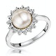 Stellato Collection Pearl and Diamond Ring 0.05ct in 9K White Gold - image 1