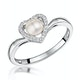 Stellato Collection Pearl and Diamond Heart Ring in 9K White Gold - image 1