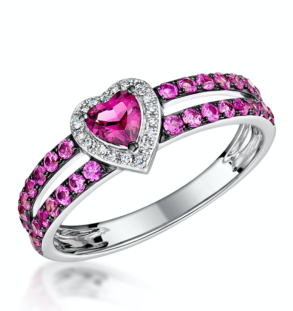Rhodolite Pink Sapphire and Diamond Stellato Heart Ring 9K White Gold