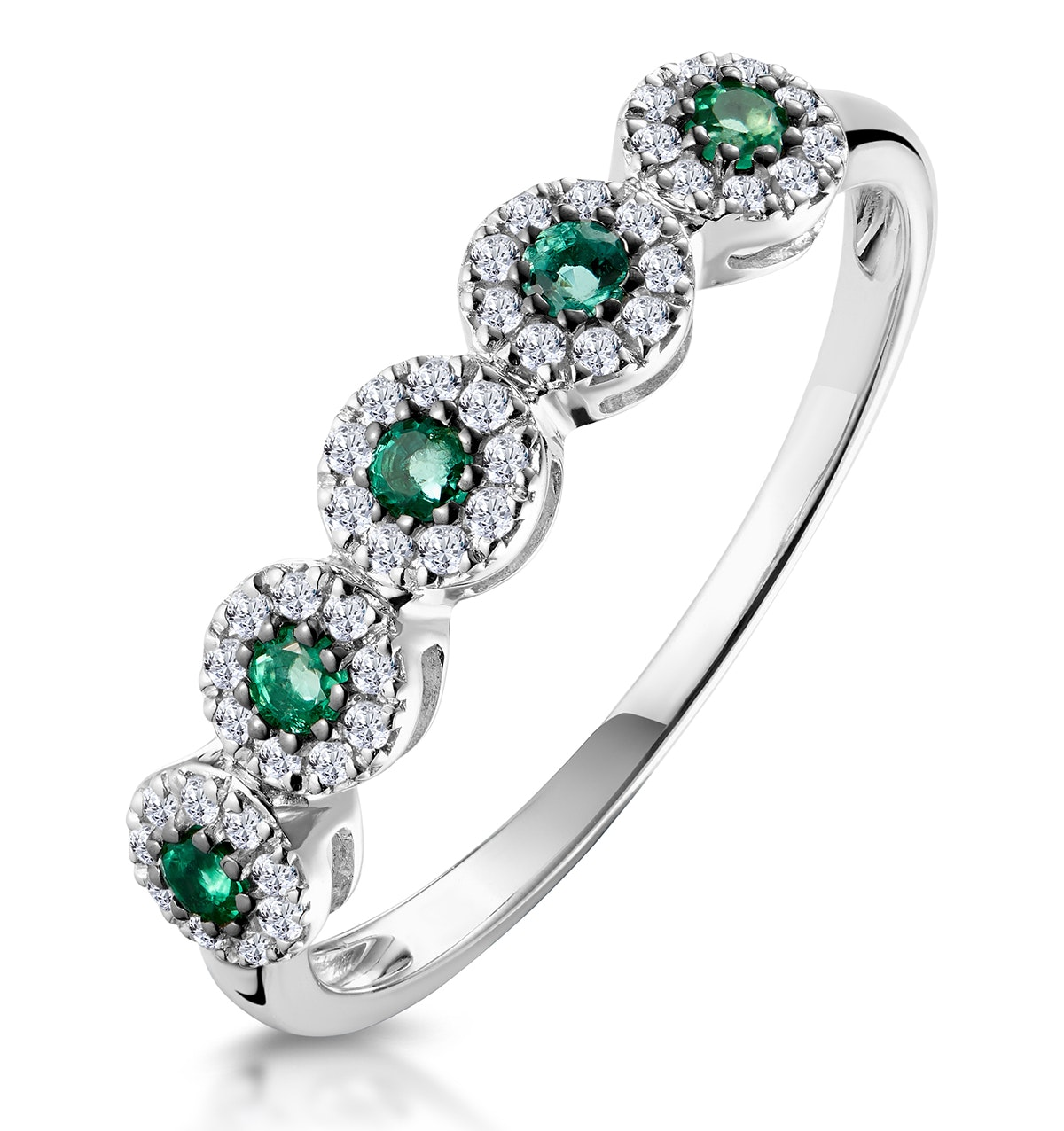 Emerald and Halo Diamond Stellato Eternity Ring in 9K White Gold