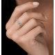 Emerald and Halo Diamond Stellato Eternity Ring in 9K White Gold - image 2