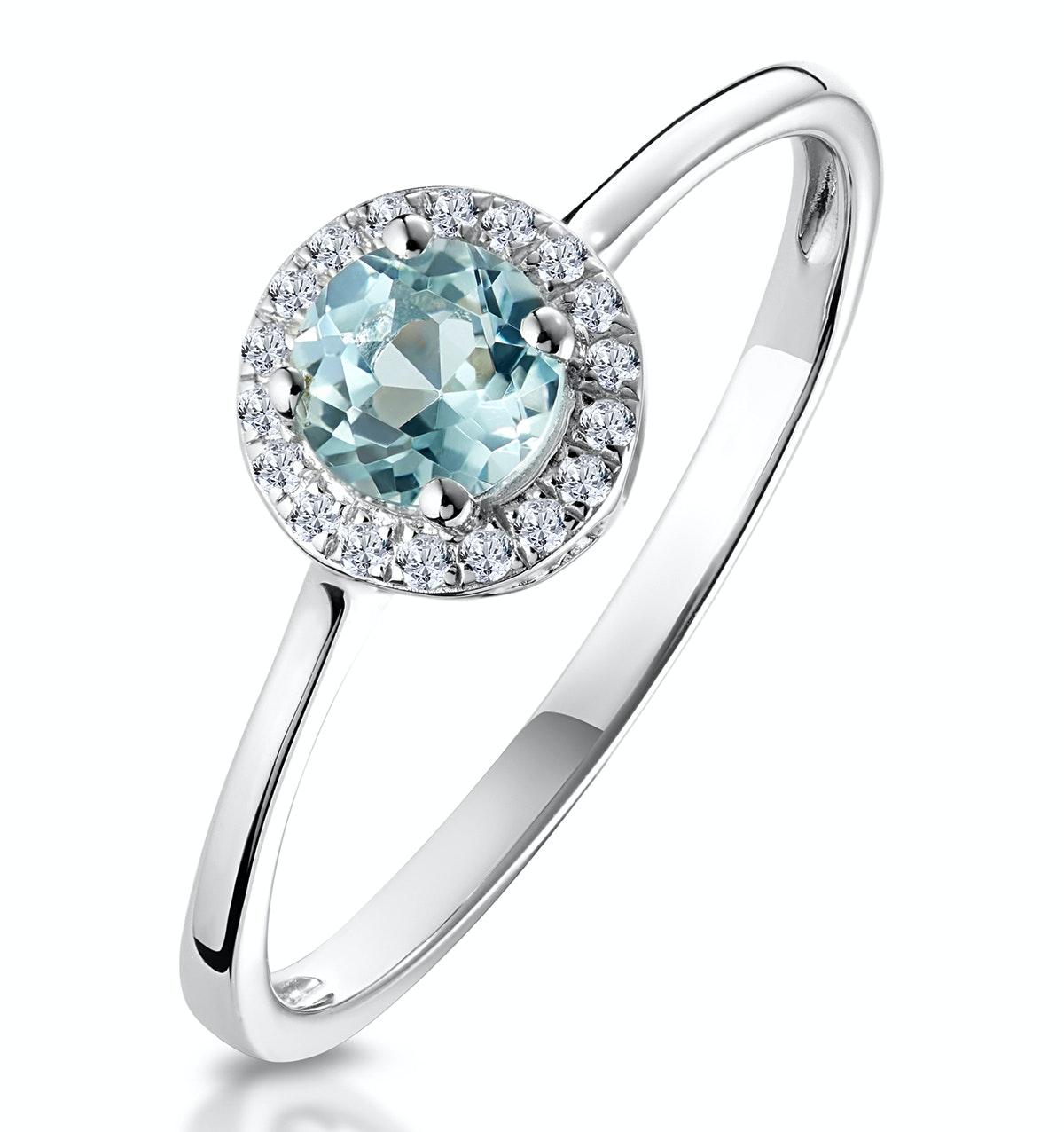 0.37ct Aquamarine and Diamond Stellato Ring in 9K White Gold