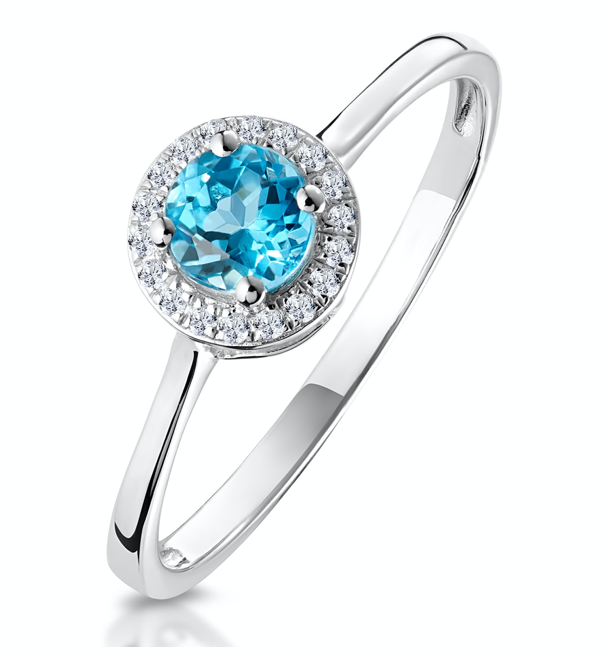 0.42ct Swiss Blue Topaz and Stellato Diamond Ring in 9K White Gold