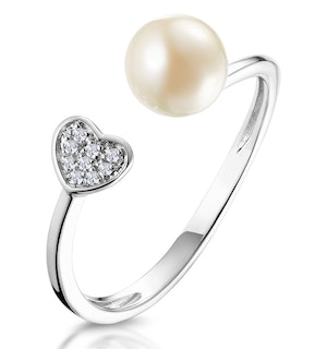 PEARL AND DIAMOND HEART RING IN 9K WHITE GOLD - STELLATO COLLECTION
