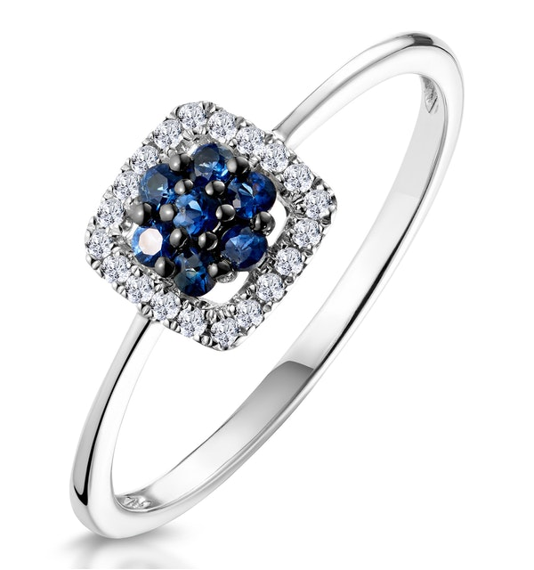 0.15ct Sapphire and Diamond Stellato Ring in 9K White Gold - image 1