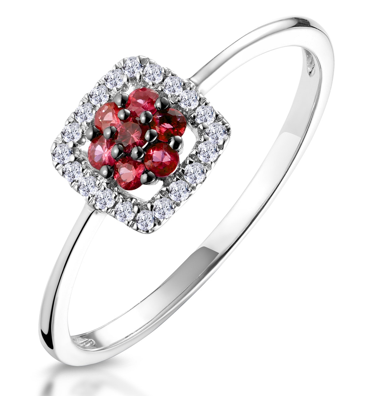 0.15ct Ruby and Diamond Ring in 9K White Gold - Stellato Collection