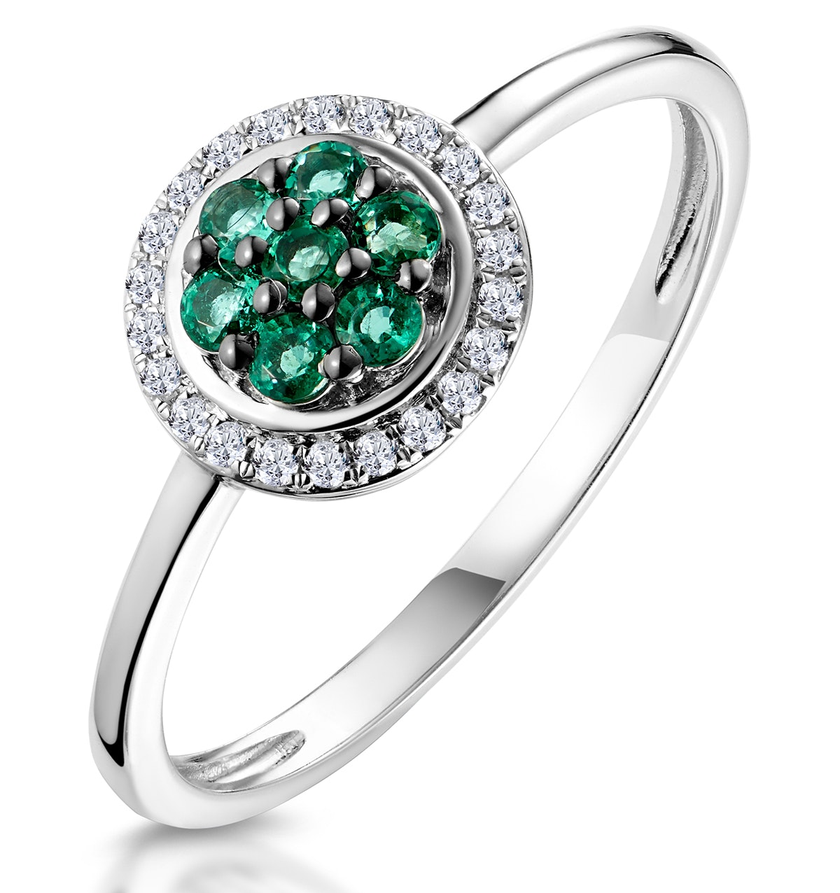 0.16ct Emerald and Diamond Ring in 9K White Gold - Stellato Collection