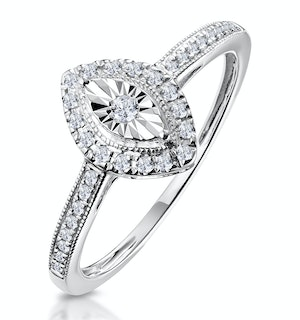 MASAMI MARQUISE DIAMOND ENGAGEMENT RING HALO PAVE SET IN 9K WHITE GOLD