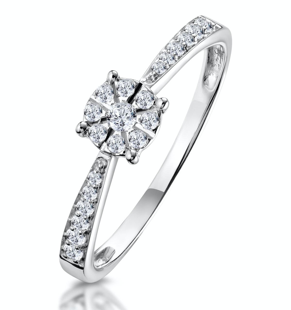 Masami Diamond Engagement Ring 0.20ct Pave Set in 9K White Gold