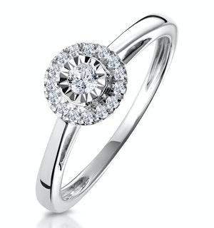 MASAMI DIAMOND ENGAGEMENT RING 0.20CT PAVE SET HALO IN 9K WHITE GOLD