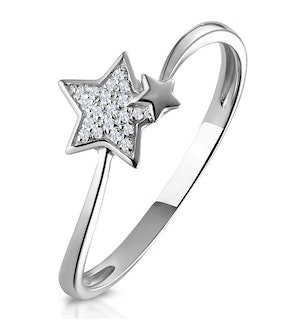 SHOOTING STAR DIAMOND RING STELLATO COLLECTION IN 9K WHITE GOLD